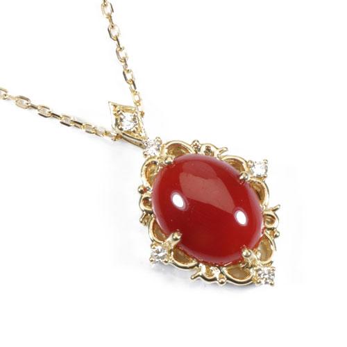 血赤珊瑚 ネックレス ペンダント 無染色 K18 イエローゴールド SANSUI宝石 サンゴ 天然 本 さんご コーラル