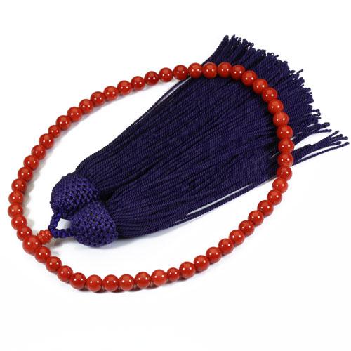 地中海紅珊瑚 数珠 念珠(胡渡 サルジ)無染色 略式 片手 正絹 SANSUI 宝石サンゴ 天然 本さんご コーラル