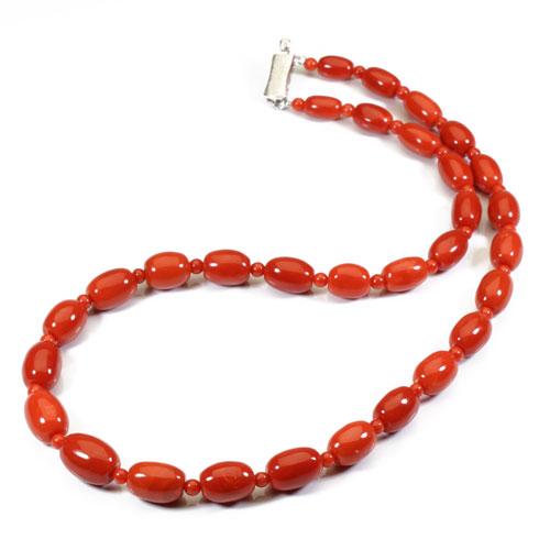 地中海紅珊瑚 (胡渡・サルジ)ネックレス K14 ホワイトゴールド 無染色 SANSUI 天然 sango 本さんご コーラル 宝石サンゴ 専門店