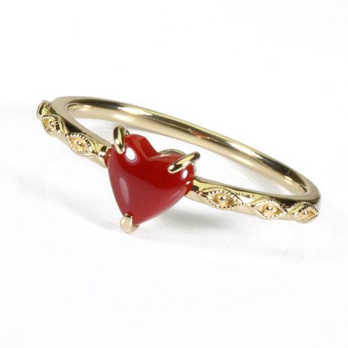 血赤珊瑚 リング 指輪 ハート K18 無染色 SANSUI宝石サンゴ 天然 本さんご コーラル