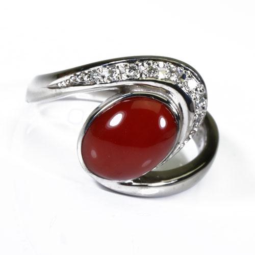 血赤珊瑚 リング 指輪 K18 ホワイトゴールド 無染色 SANSUI宝石サンゴ 天然 本さんご コーラル