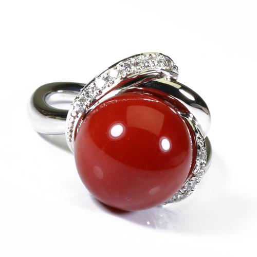 赤珊瑚 リング 丸玉 指輪 Pt900 プラチナ 無染色 SANSUI 天然 sango 本さんご コーラル 宝石サンゴ 専門店