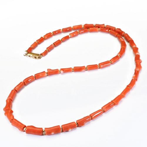 桃珊瑚 ネックレス 枝サンゴ K18 無染色 SANSUI宝石サンゴ 天然 本さんご コーラル