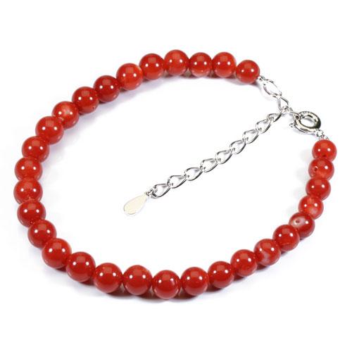 血赤珊瑚 ブレスレット シルバー 無染色 SANSUI 宝石サンゴ 天然 本さんご コーラル