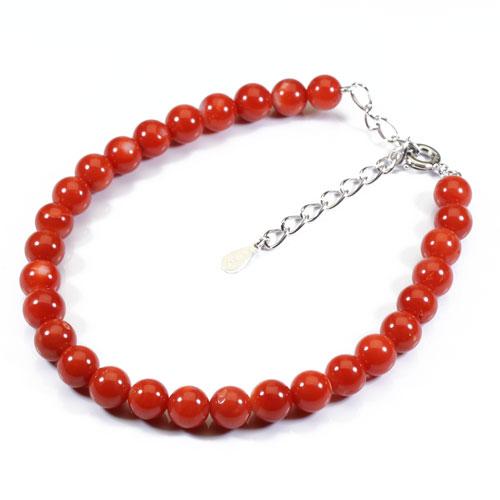 赤珊瑚 ブレスレット シルバー 無染色 SANSUI 宝石サンゴ 天然 本さんご コーラル