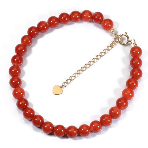 赤珊瑚 日本産 ブレスレット K18 イエローゴールド 無染色 SANSUI 宝石サンゴ 天然 本さんご コーラル