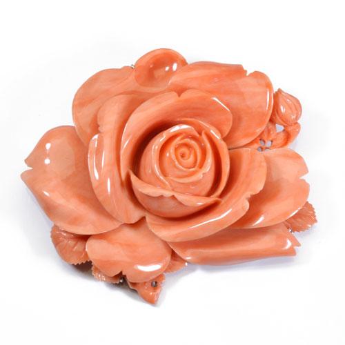 桃珊瑚 ブローチ 帯留め 薔薇 花 無染色 SANSUI宝石サンゴ 天然 本さんご コーラル