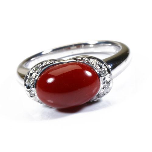 血赤珊瑚 リング 指輪 K18WG 無染色 SANSUI宝石サンゴ 天然 本さんご コーラル