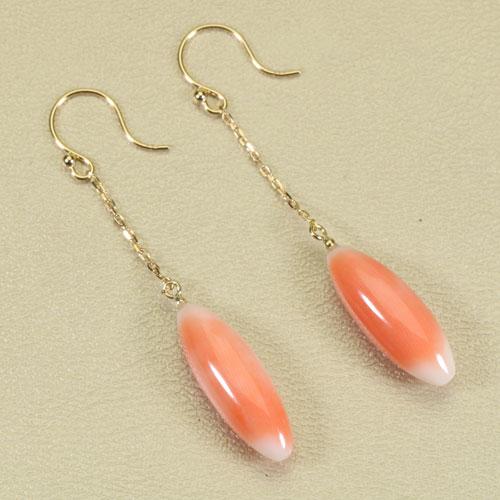 桃珊瑚 ピンク ピアス チェーン フック ライス K18 イエローゴールド 無染色 SANSUI宝石サンゴ 天然 本さんご コーラル