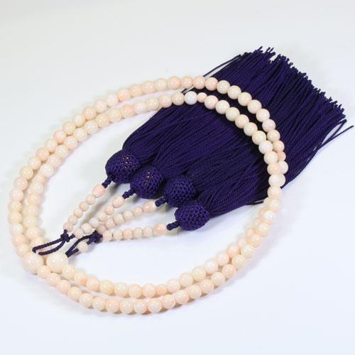ミッド珊瑚 ピンク 本連 数珠 念珠 無染色 正絹 SANSUI 天然 sango 本さんご コーラル 宝石サンゴ 専門店