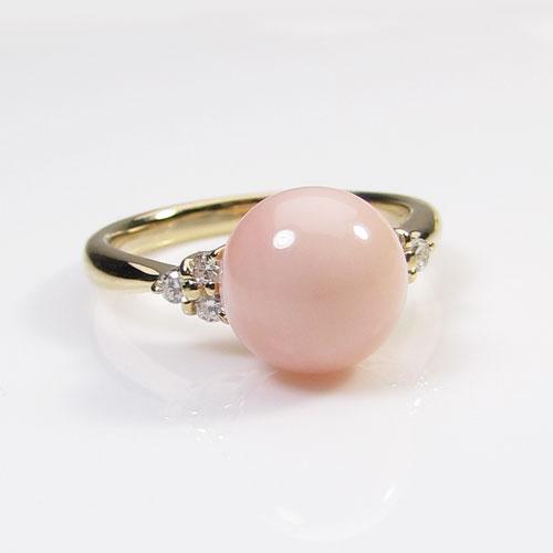 ピンク ミス珊瑚 リング 指輪 丸玉 K18 イエローゴールド 無染色 SANSUI 天然 sango 本さんご コーラル 宝石サンゴ 専門店