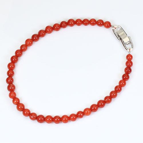 地中海紅珊瑚 ブレスレット 丸玉 無染色 SANSUI宝石サンゴ 天然 本さんご コーラル