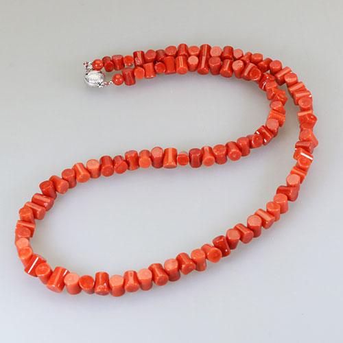地中海紅珊瑚 ネックレス 枝 シルバー 無染色 SANSUI宝石サンゴ 天然 本さんご コーラル