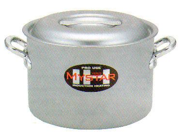 ホクア プロマイスターIH アルミ半寸胴鍋 24cm オール電源対応。