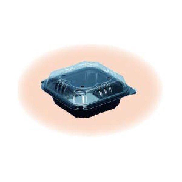 信和 ミニトマト用パック ミニパック クロバー80黒 105×105×43mm 4穴 嵌合 1ケース1500枚入り