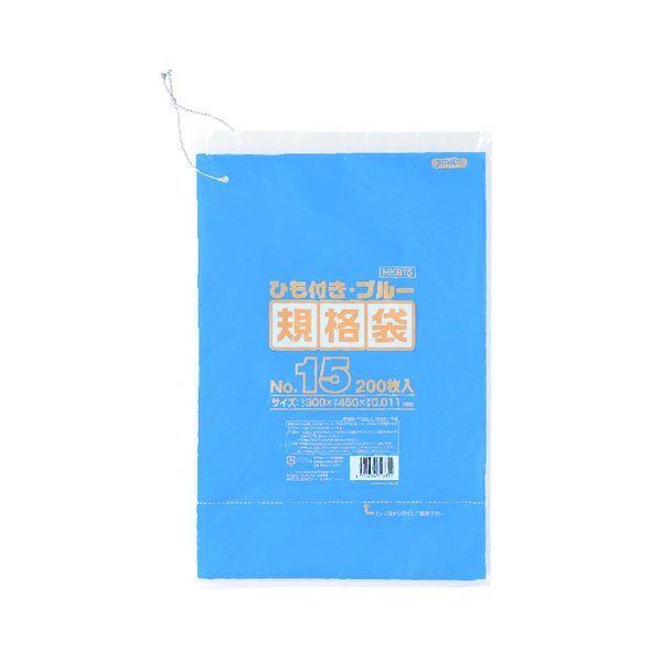 ジャパックス HD規格袋 紐付き 0.011mm厚 No.15 青 HKB15 300×450mm 1ケース4000枚入
