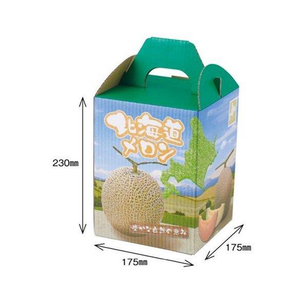 メロンの箱 メロン用 低廉 化粧箱 蔵 ダンボール箱 屋号必須 オリカ メロン箱 1セット10枚入り 北海道メロンF1 180×180×320mm 1ヶ入