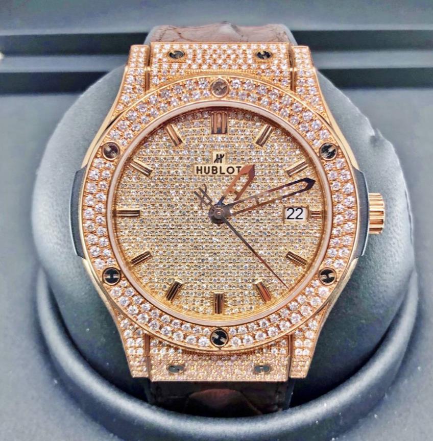 【新同品】HUBLOT ウブロ クラシックフュージョンオパリンダイヤル 511.PX.2610.LR アフターダイヤモンド 18kローズゴールド メンズ 腕時計 watch【送料・代引手数料無料】