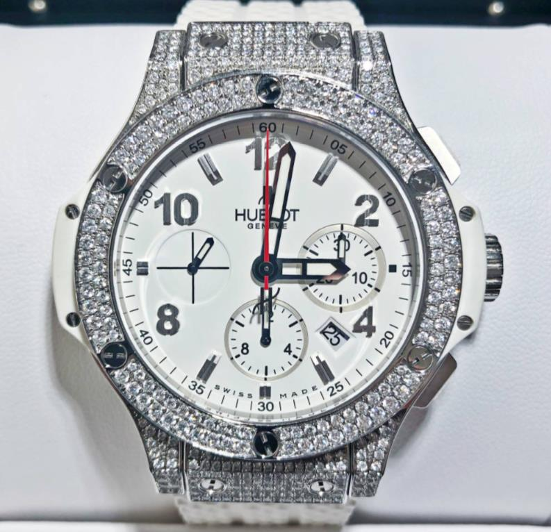 HUBOLT ウブロ ビッグバン スチールホワイト アフターダイヤモンド 人気の製品 301.SE.230.RW 商い 新同品 ステンレススチール メンズ 代引き無料 送料 watch 腕時計