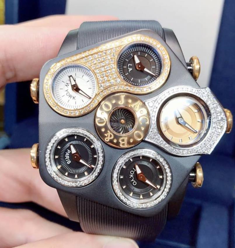【新品】JACOB&CO ジェイコブ ファイブタイムゾーン ステンレススチール(PVD) GR1-25 メンズ 腕時計 watch 【送料・代引手数料無料】