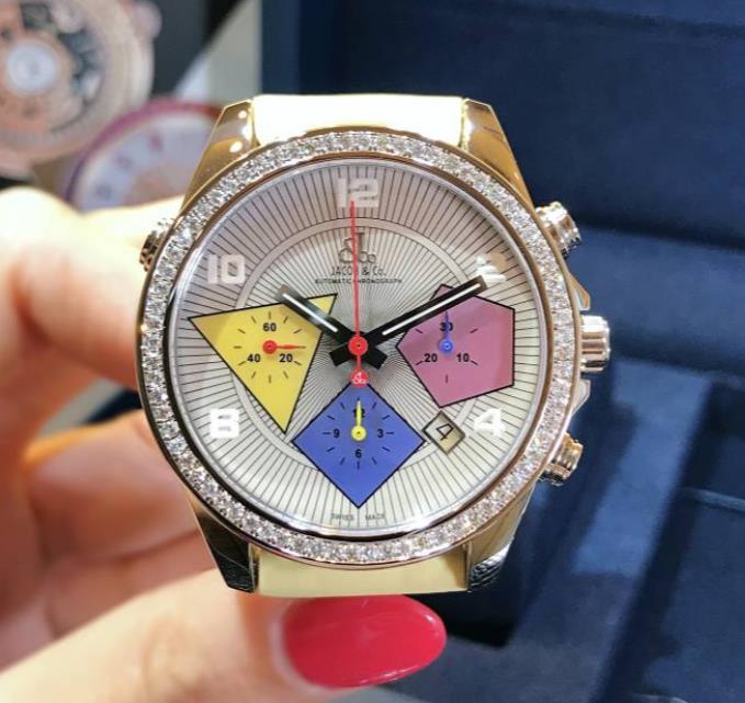 【新品】JACOB&CO ジェイコブ クロノグラフ デート ステンレススチール ダイヤベゼル ACM-19 腕時計 watch【送料・手数料無料】
