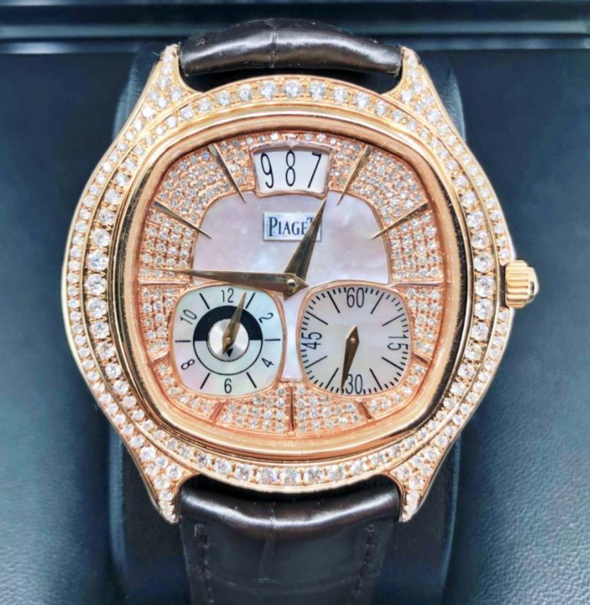 【新同品】Piaget ピアジェ エンペラドール デュアルタイム P10350 アフターダイヤモンド 18Kピンクゴールド メンズ 腕時計 watch 0【送料・代引手数料無料】