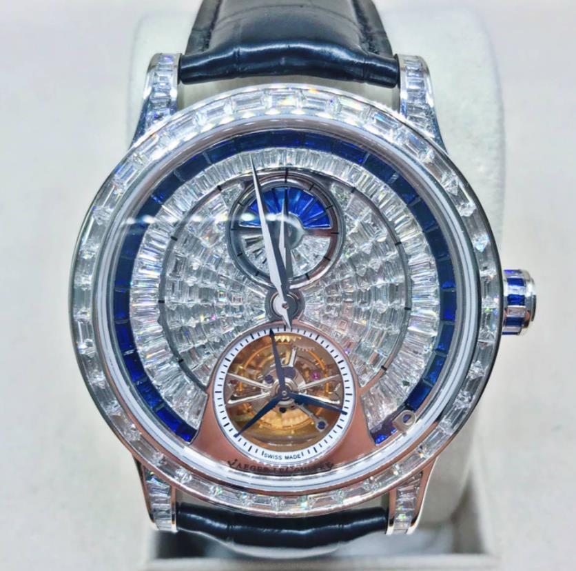 【新同品】JAEGER LECOULTRE ジャガールクルト MASTER GRAND TOURBILLON マスター グランド トゥールビヨン Q1656450 18Kプラチナ アフターバケットダイヤモンド メンズ 腕時計 メンズ【送料・代引手数料無料】