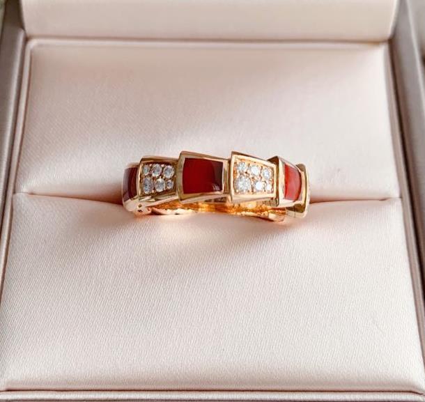 【新品】Bvlgari ブルガリ SPRPENTI VIPER リング 18Kローズゴールド 赤玉髄 ダイヤモンド AN85792713号【送料・代引手数料無料】