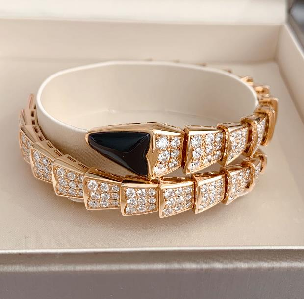 【新品】Bvlgari ブルガリ セルペンティ ラップリング 18Kピンクゴールド ブラックオニキス ダイヤモンド BR855196S (18Kホワイトゴールド 53.5g/サイズ M)