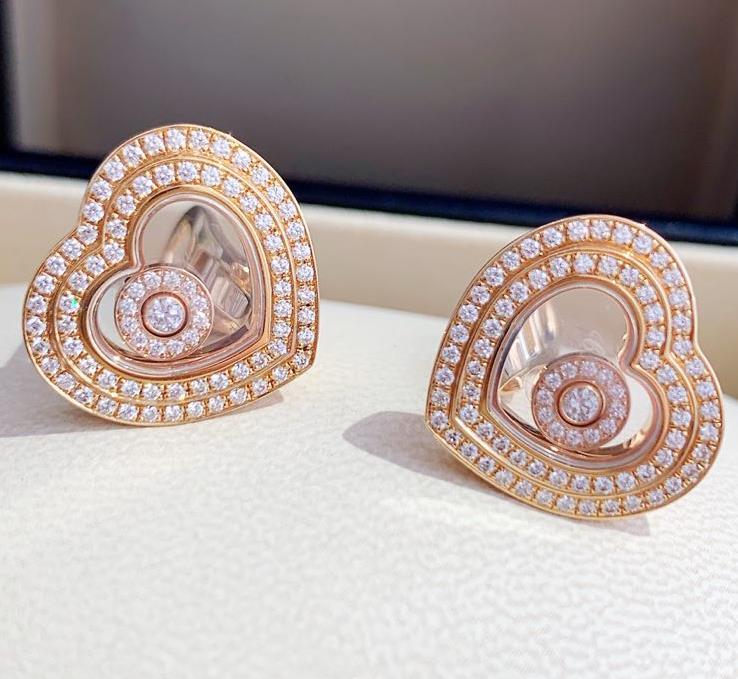 【新品】Chopard ショパール HAPPY DIAMONDS イヤリング 18Kローズゴールド ダイヤモンド 847209-5001 (18kローズゴールド20.2g/ダイヤ0.86ct)