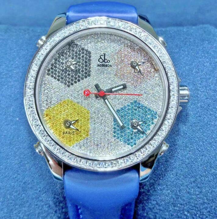 【新品】JACOB&CO ジェイコブ ファイブタイムゾーン ステンレススチールJCM-50 メンズ 腕時計 watch 【送料・代引手数料無料】