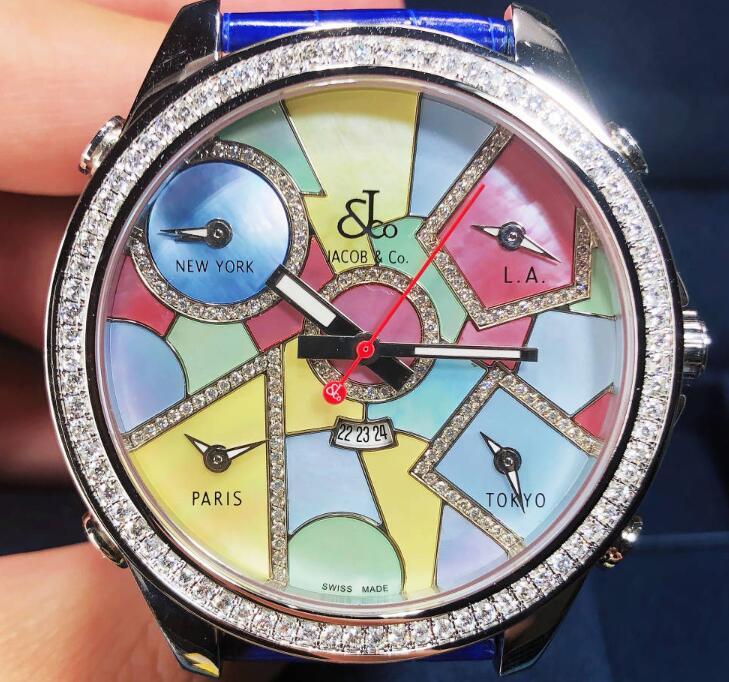 【新品】JACOB&CO ジェイコブ ファイブタイムゾーン ステンレススチール JC-118DA 腕時計 watch【送料・手数料無料】
