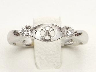 プラチナ製ダイヤ入りリング金具(9ミリ真珠用)