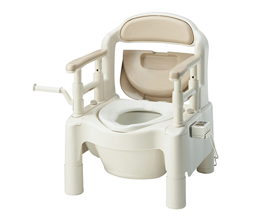 【送料無料】【直送の為、代引き不可】アロン化成 ポータブルトイレ FX-CP(ちびくまくん) 暖房便座・補高スペーサー付き ベージュ 7-2669-01
