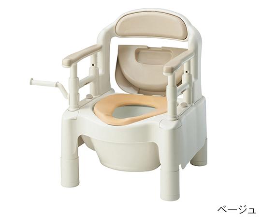 【送料無料】【直送の為、代引き不可】アロン化成 ポータブルトイレ FX-CP(ちびくまくん) 快適脱臭・補高スペーサー付き ベージュ 7-2670-01