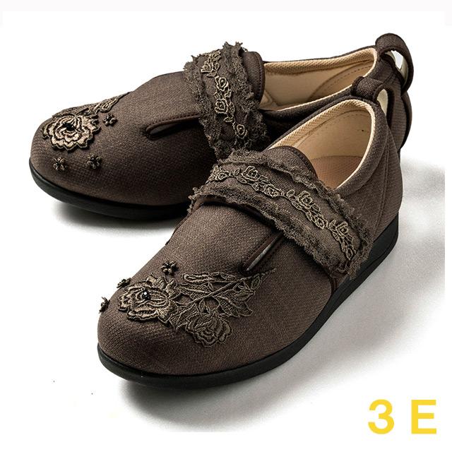 【送料無料】ダブルマジック3 レース(15021C) ブラウン 3E クレソン【あゆみシューズ・ケアシューズ おしゃれ・ケアシューズ 花柄・敬老の日・母の日・靴 花柄】