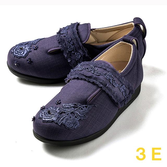 【送料無料】ダブルマジック3 レース(15021C) パープル 3E クレソン【あゆみシューズ・ケアシューズ おしゃれ・ケアシューズ 花柄・敬老の日・母の日・靴 花柄】