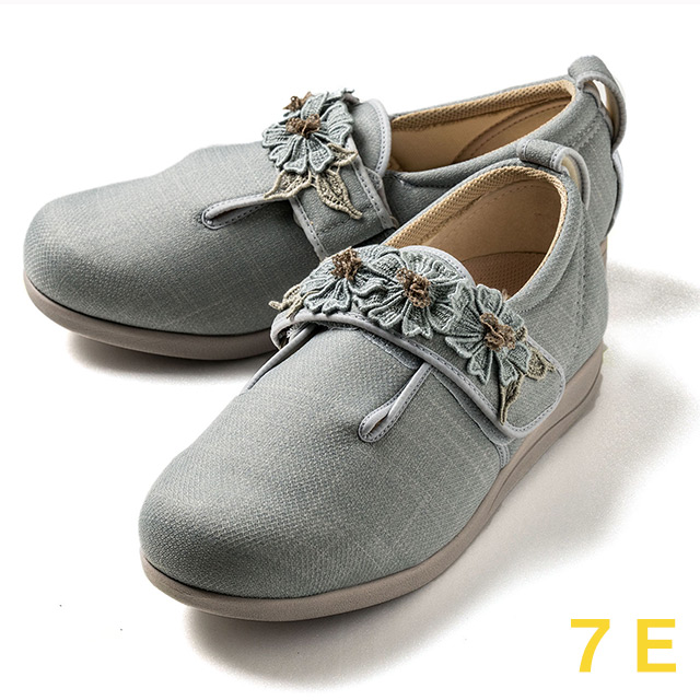 【送料無料】ダブルマジック3 コスモス(15021B) グレー 7E クレソン【あゆみシューズ・ケアシューズ おしゃれ・ケアシューズ 花柄・敬老の日・母の日・靴 花柄】