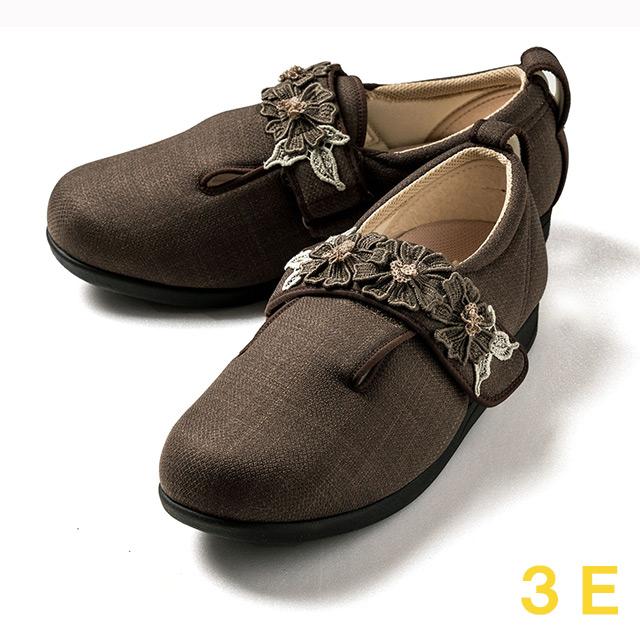 【送料無料】ダブルマジック3 コスモス(15021B) ブラウン 3E クレソン【あゆみシューズ・ケアシューズ おしゃれ・ケアシューズ 花柄・敬老の日・母の日・靴 花柄】