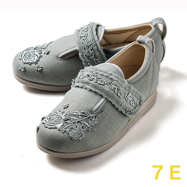 【送料無料】ダブルマジック3 レース(15021C) グレー 7E クレソン【あゆみシューズ・ケアシューズ おしゃれ・ケアシューズ 花柄・敬老の日・母の日・靴 花柄】