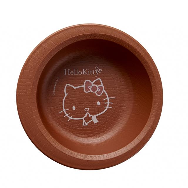 ハローキティデザインのかわいい持ちやすい食器 木目食器 ボウル 国際ブランド すくいやすいシリーズ ハローキティ 010301 グッズ ウェルファン ハローキティちゃん 買取 キティちゃんグッズ