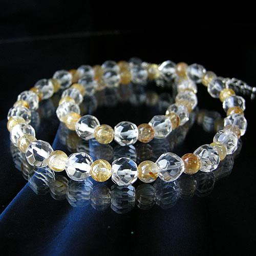 パワーストーン 6ミリ球使用!タイチンルチル&多面カットヒマラヤ 水晶 ネックレス! パワ-スト-ン クリスタル (Crystal) 水晶 (すいしょう) 天然石 水晶メンズ レディース 癒し 浄化 幸運  天然石  送料無料
