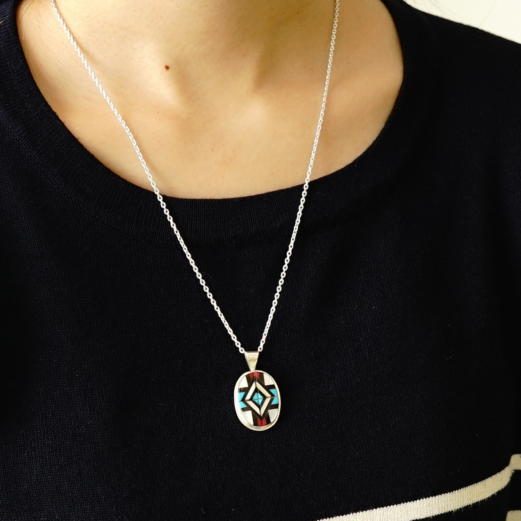 Indian jewelry pendant top native American ZUNI ズニ group turquoise  turquoise handmade native American jewelry silver 925 silverwork unisex  Lady's men