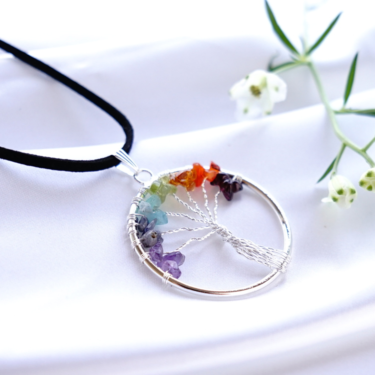 The fortune-telling gift which improves a tree of tree of tree of life life  power stone nature stone amethyst aquamarine life pendant necklace tree of