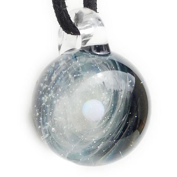 宇宙ガラス ペンダント 日本製 宇宙 ペンダント あなただけの 宇宙(そら)の ペンダント ホワイトオパール & シルバー入り ガラスネックレス レディース メンズ  送料無料