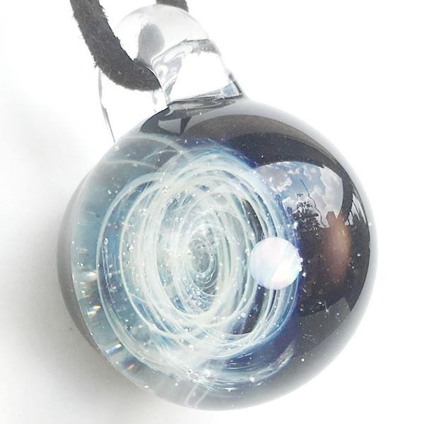 宇宙ガラス ペンダント 宇宙 ペンダント あなただけの 宇宙(そら)の ペンダント ホワイトオパール入り ガラスネックレス レディース メンズ  ガラスペンダント ハンドメイド グッズ アクセサリー
