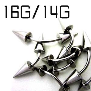ディスカウント ネイブルやアイブローに 永遠の定番 カーブドバーベル ボディピアス サージカルステンレス 14G カーブドバーベルスパイク 16G
