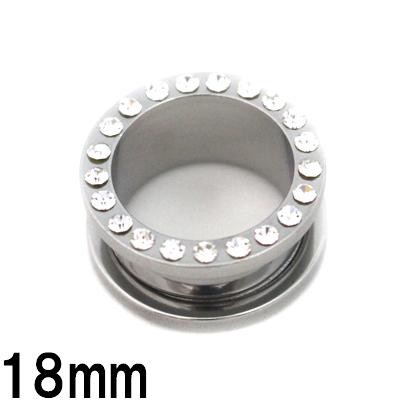 正規品 金属アレルギーの方でも安心 サージカルステンレス製トンネル ボディピアス サージカルステンレス サークルジェム付きニュートンネル 100%品質保証 18mm