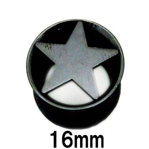 サージカルステンレス製シングルフレアイヤレット 人気急上昇 ボディピアス ブラックチタン 16mm スター付きシングルフレアイヤレット 驚きの値段