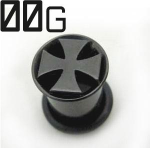 サージカルステンレス製シングルフレアイヤレット 再入荷 注目ブランド 予約販売 ボディピアス ブラックチタン 00G アイアンクロスシングルフレアイヤレット